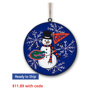 Florida Gators Metal Snowman Ornament
