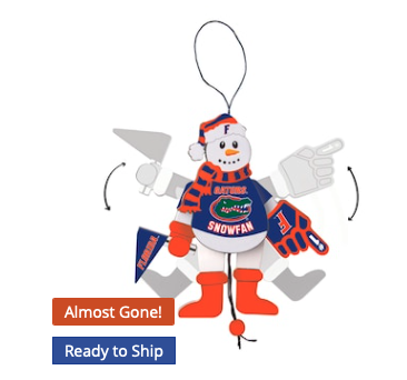 Florida Gators Wood Cheering Snowman Ornament