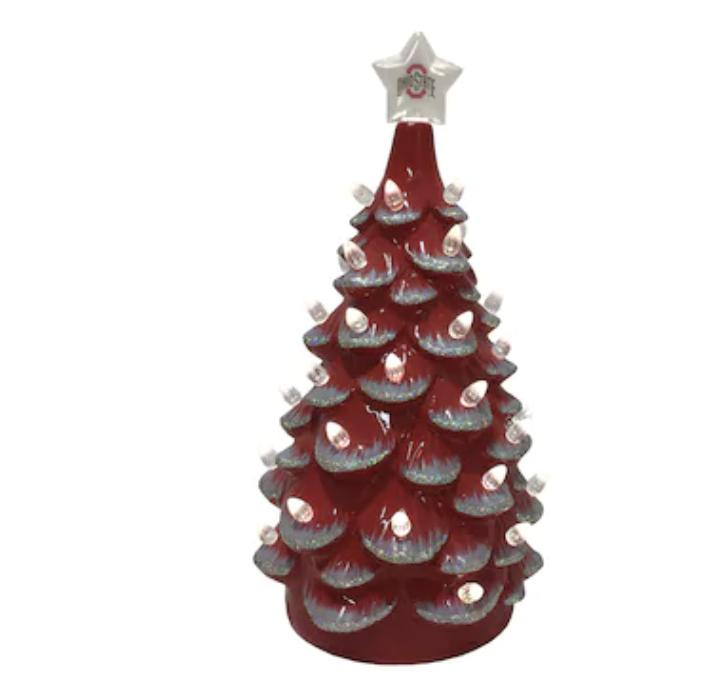 Ohio State Buckeyes 14'' Ceramic Tree - Scarlet