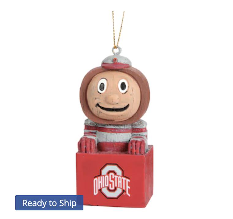 Ohio State Buckeyes Tiki Mascot Ornament