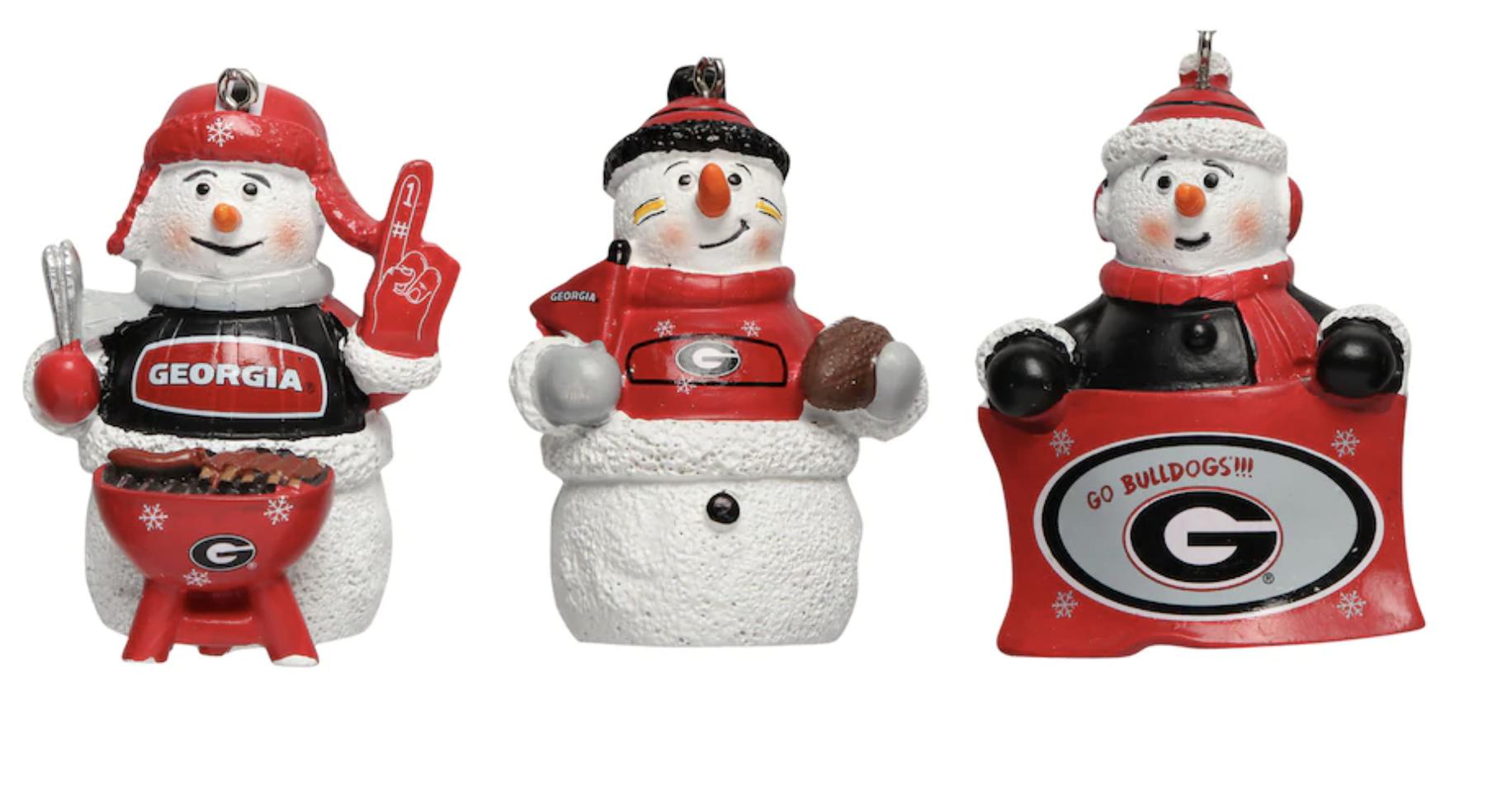 Georgia Bulldogs Three-Pack Snowman Gameday Ornament Set