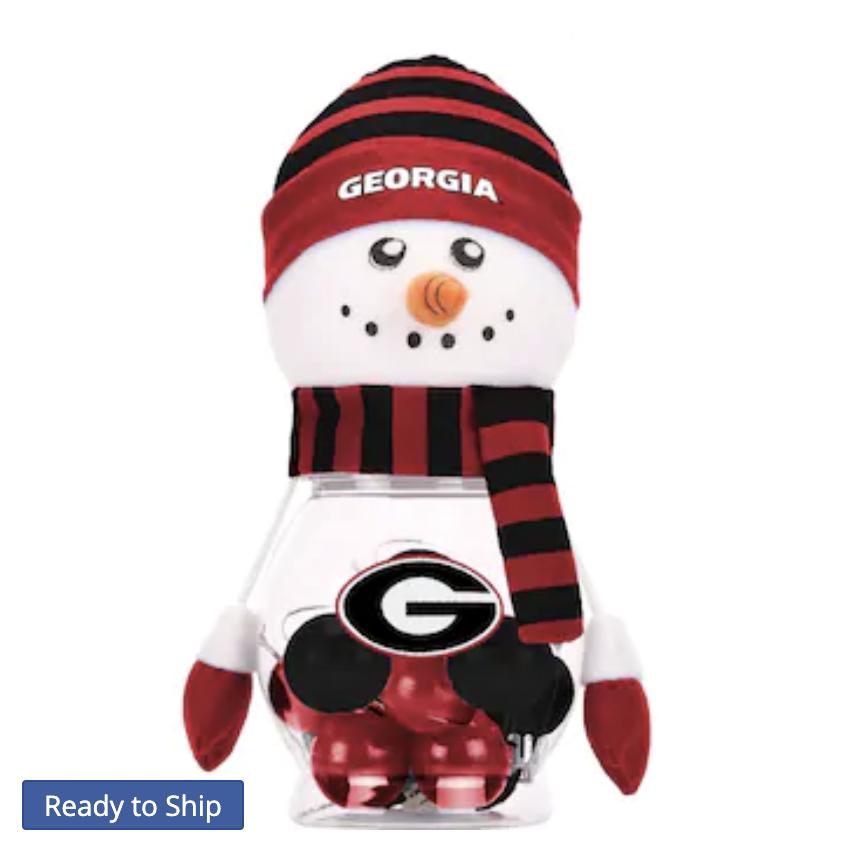 Georgia Bulldogs 12-Pack Snowman Jar Shatterproof Ornament Set