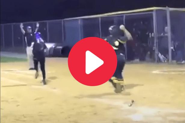 Softball Catcher's Throw Ricochets Off Runner's Head Into Coach's Junk
