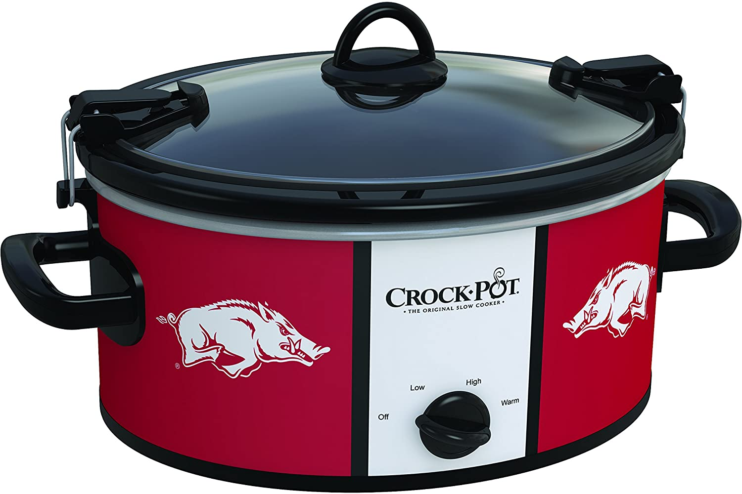 Crockpot SCCPNCAA600-UAR Cook and Carry Slow Cooker, 6 quart, University of Arkansas,Maroon/White