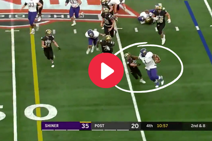 265-Pound HS Running Back Lays Vicious Stiff Arm on Puny Player