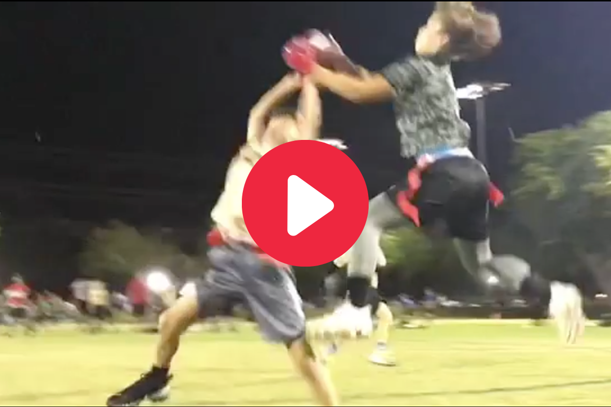 "Girl ""Mosses"" Boy in Flag Football Game for Incredible TD"