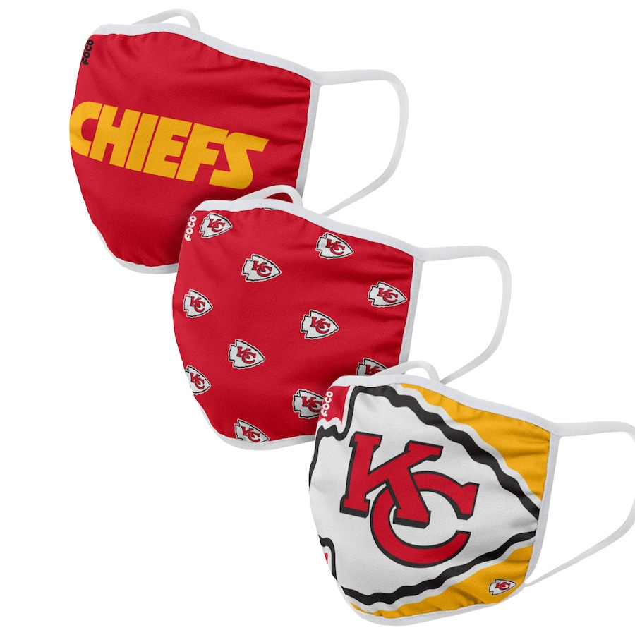 Kansas City Chiefs FOCO Adult Face Covering 3-Pack