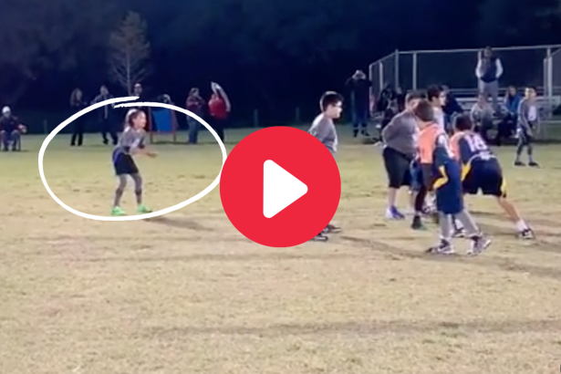 Tiny Girl Embarrasses Boys With Juke Moves in Flag Football Game