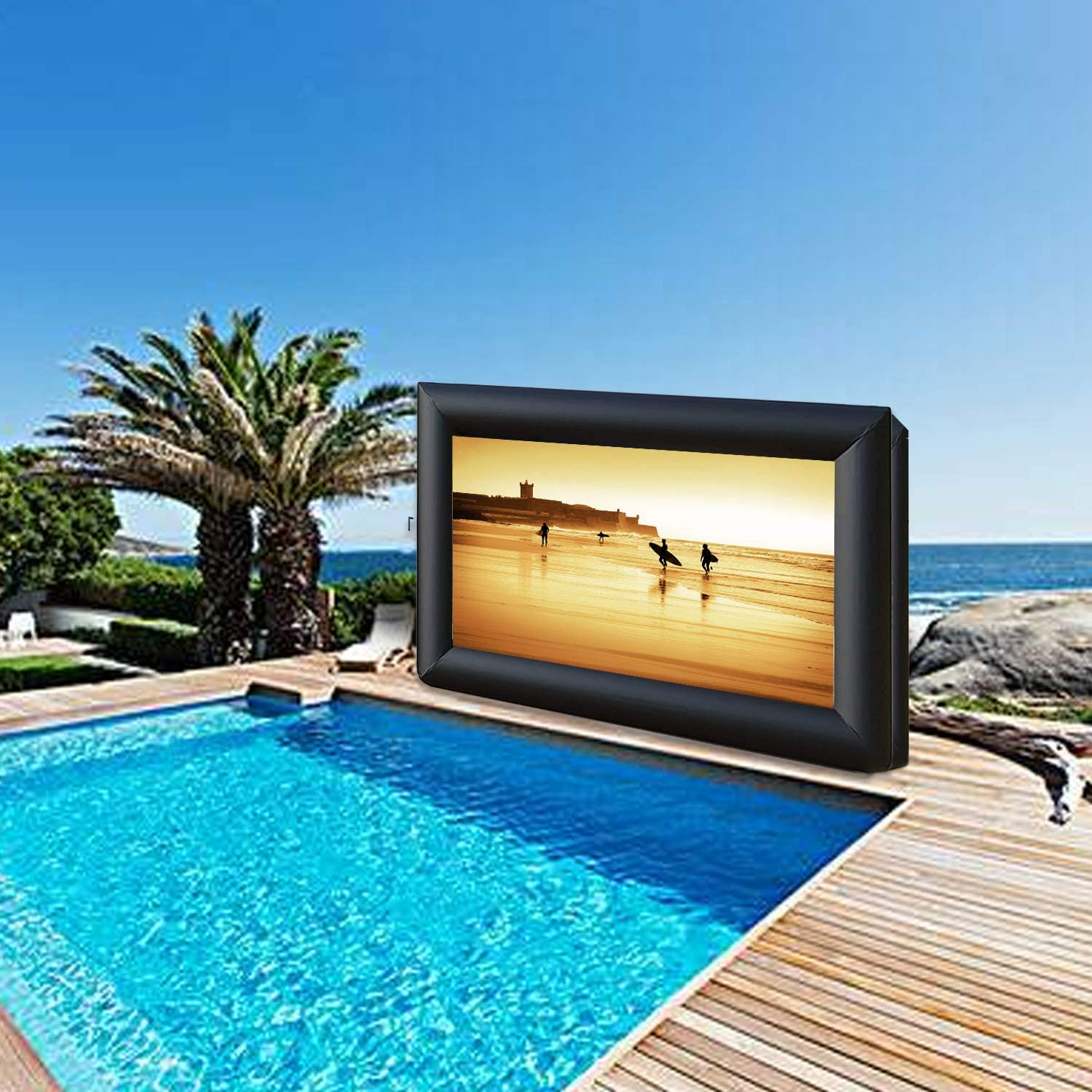 30 FT Outdoor Inflatable Projector Movie Screen-for Outdoor Parties- Front and Rear Viewing Supported-Includes Inflation Fan, Tie-Downs,Repair Kits and Storage Bag… (30)