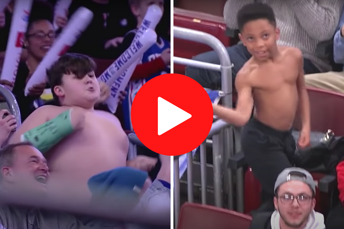 Shirtless Boys Get Into Epic Jumbotron Dance-Off