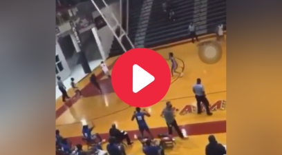 Basketball Hoop Crashes Down From Ceiling After Dunk