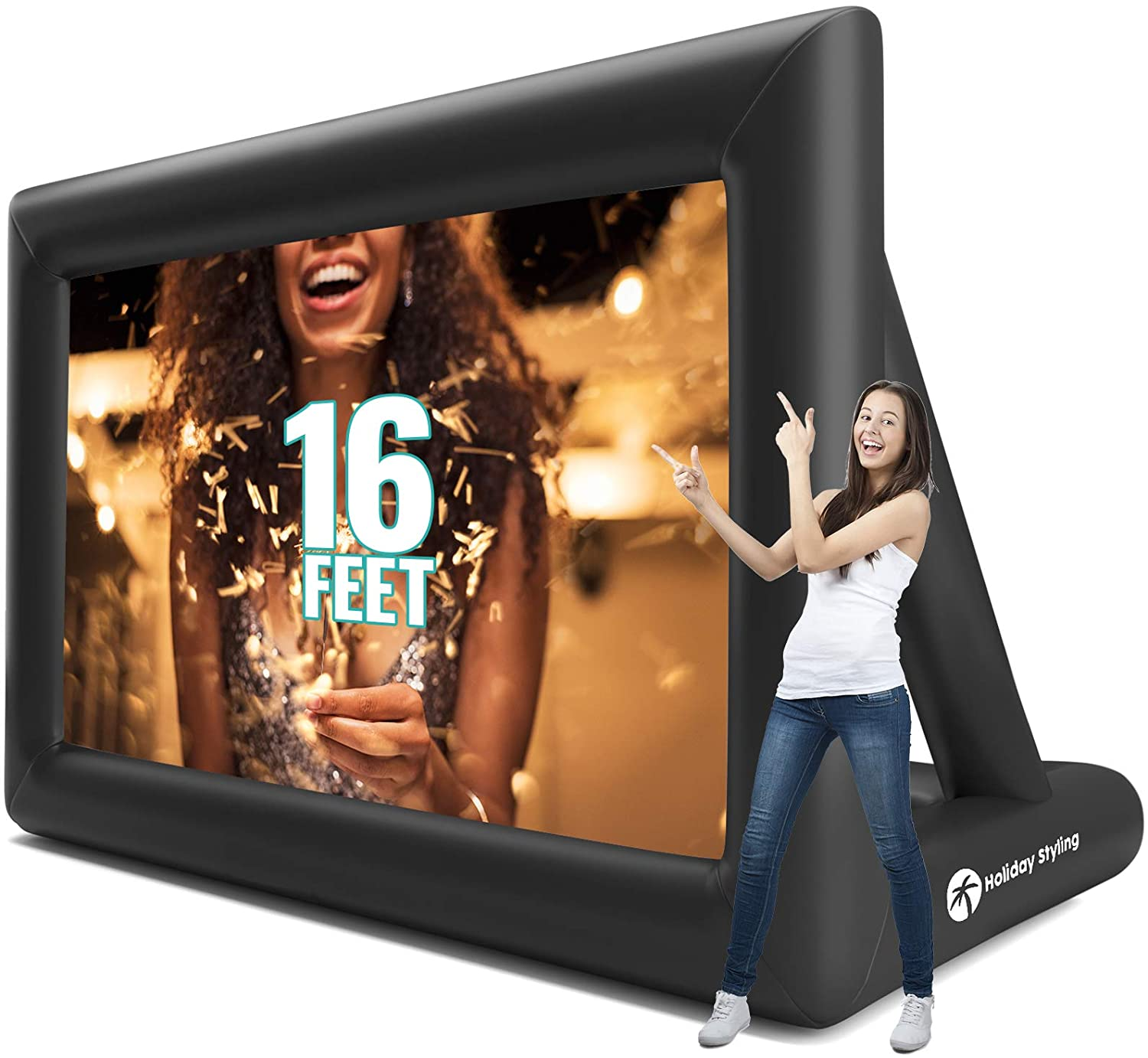 Holiday Styling: Outdoor Projector Screen – Outdoor Movie Screen - TV Projection Screen - Inflatable Portable Projector Screen for Family Movies - Premium Grade 200 inch Diagonal (16ft) Front + Rear