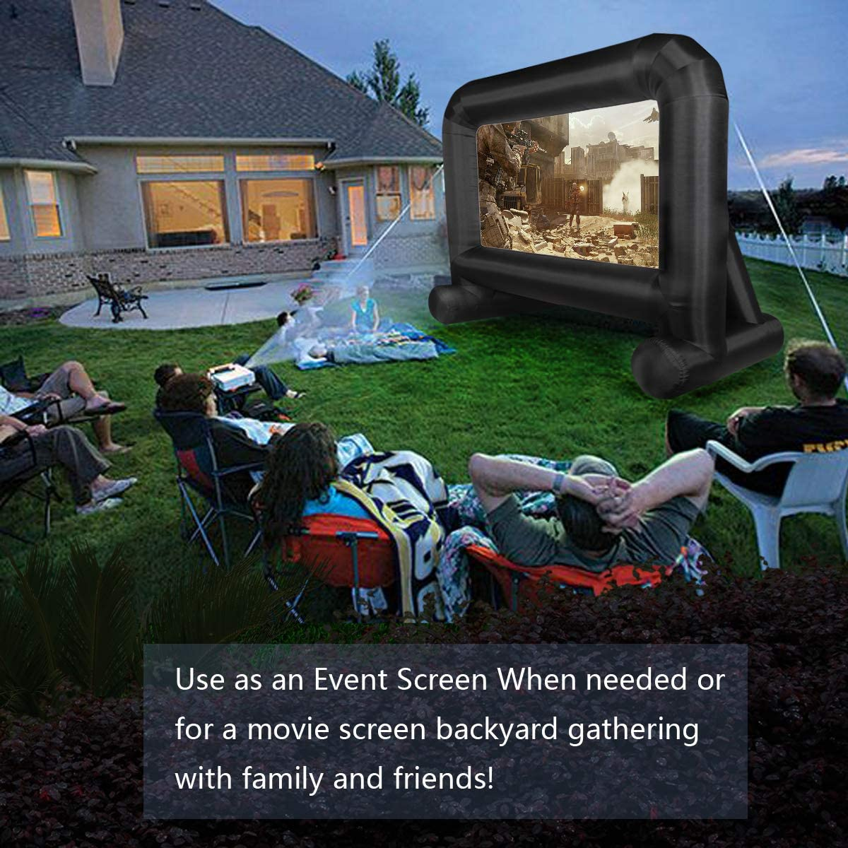 Inflatable Movie Screen Outdoor, OUTTOY Inflatable Projection Screen with Quiet Fan and Storage Bag, Easy Set up, Mega Blow Up Screen for Backyard Movie Night, Theme Parties, Celebrations-16FT