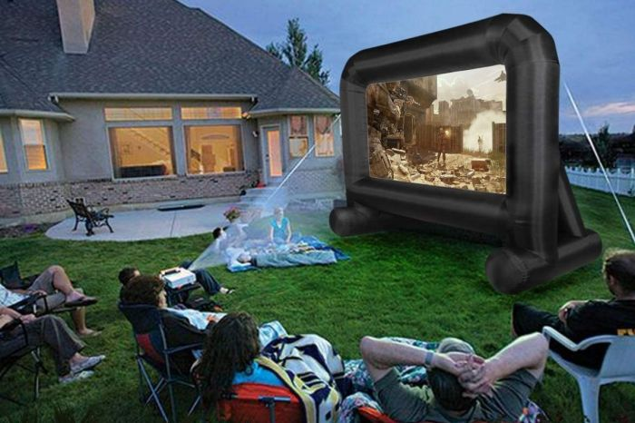 This $160 Inflatable Movie Screen Takes Backyard Watch Parties to the Next Level