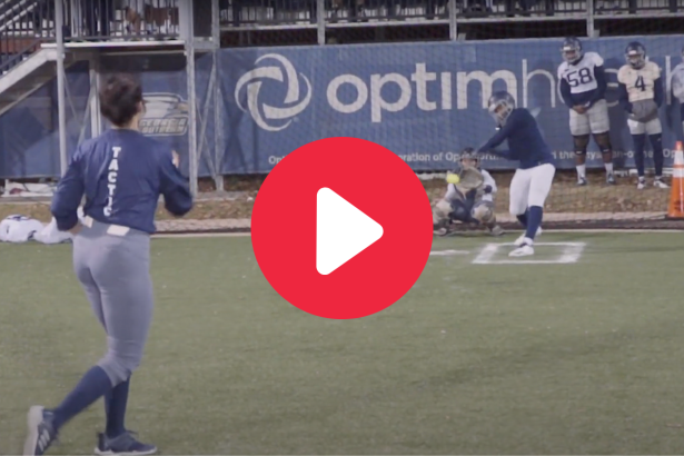Softball Pitchers Make College Football Players Look Foolish