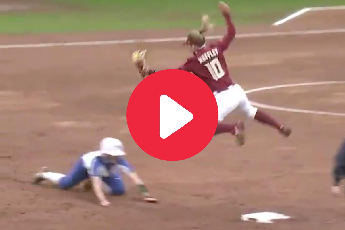 "FSU Shortstop's Flying, ""Between-The-Legs"" Tag Sets Social Media Ablaze"