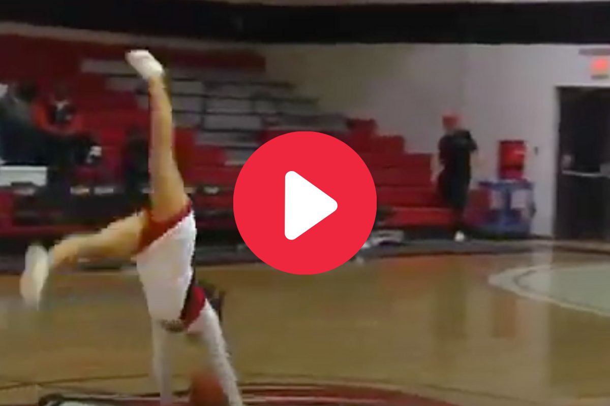 "Cheerleader Drills ""Front Flip"" Trick Shot From Half Court"