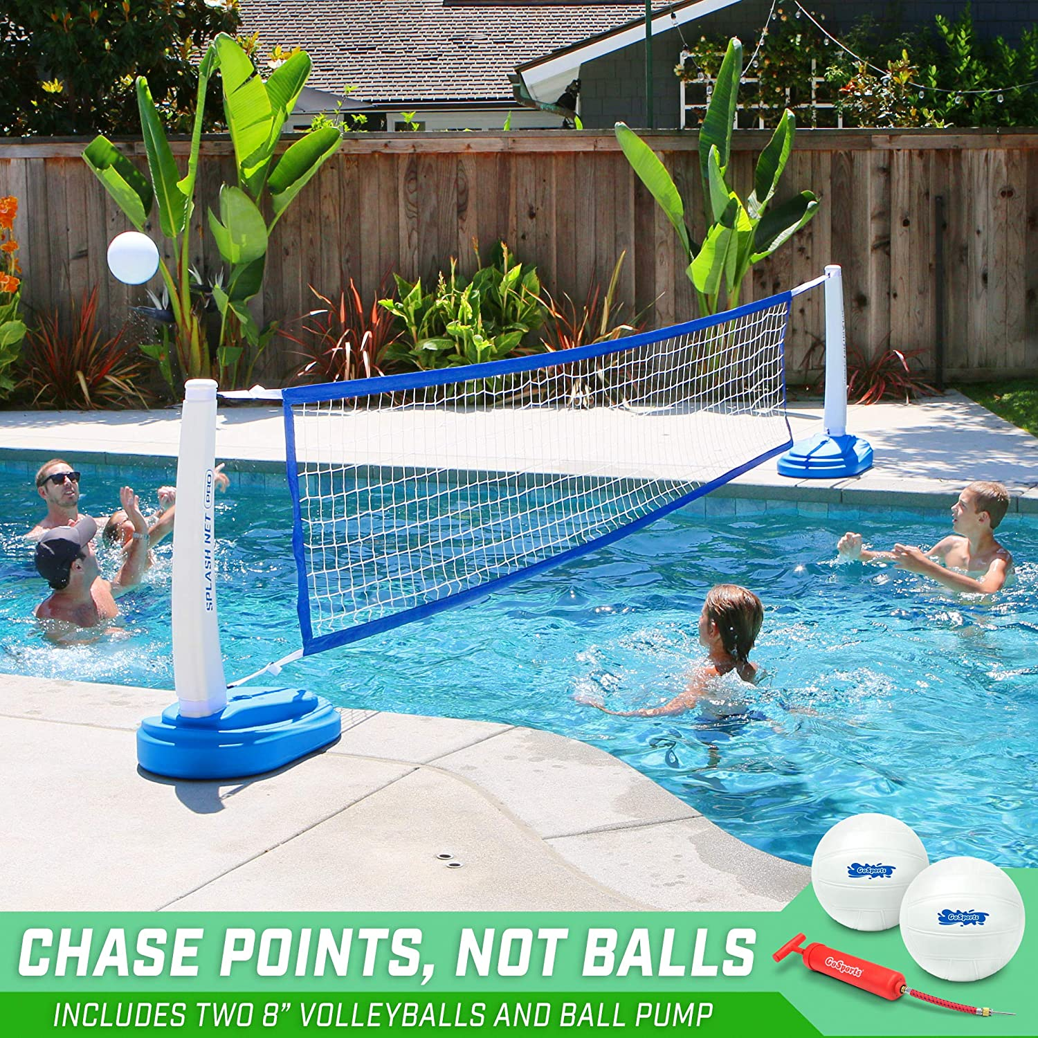 GoSports Splash Net PRO Pool Volleyball Net Includes 2 Water Volleyballs and Pump