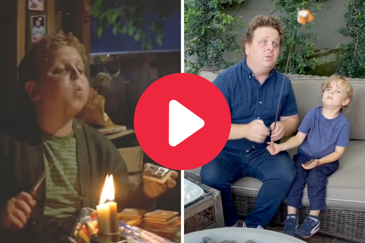 """""""Ham"""" Porter From 'The Sandlot' Recreates S'mores Scene With His Son"""