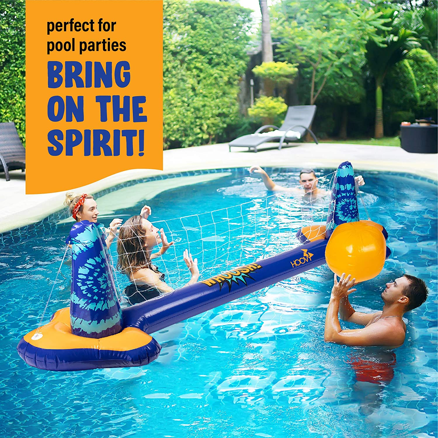 Inflatable Pool Float Game Combo Set   Volleyball Net & Basketball Hoop; Inflatable Balls Included for Kids and Adults Swimming Game   Floating Volleyball Net & Basketball Hoop Toy