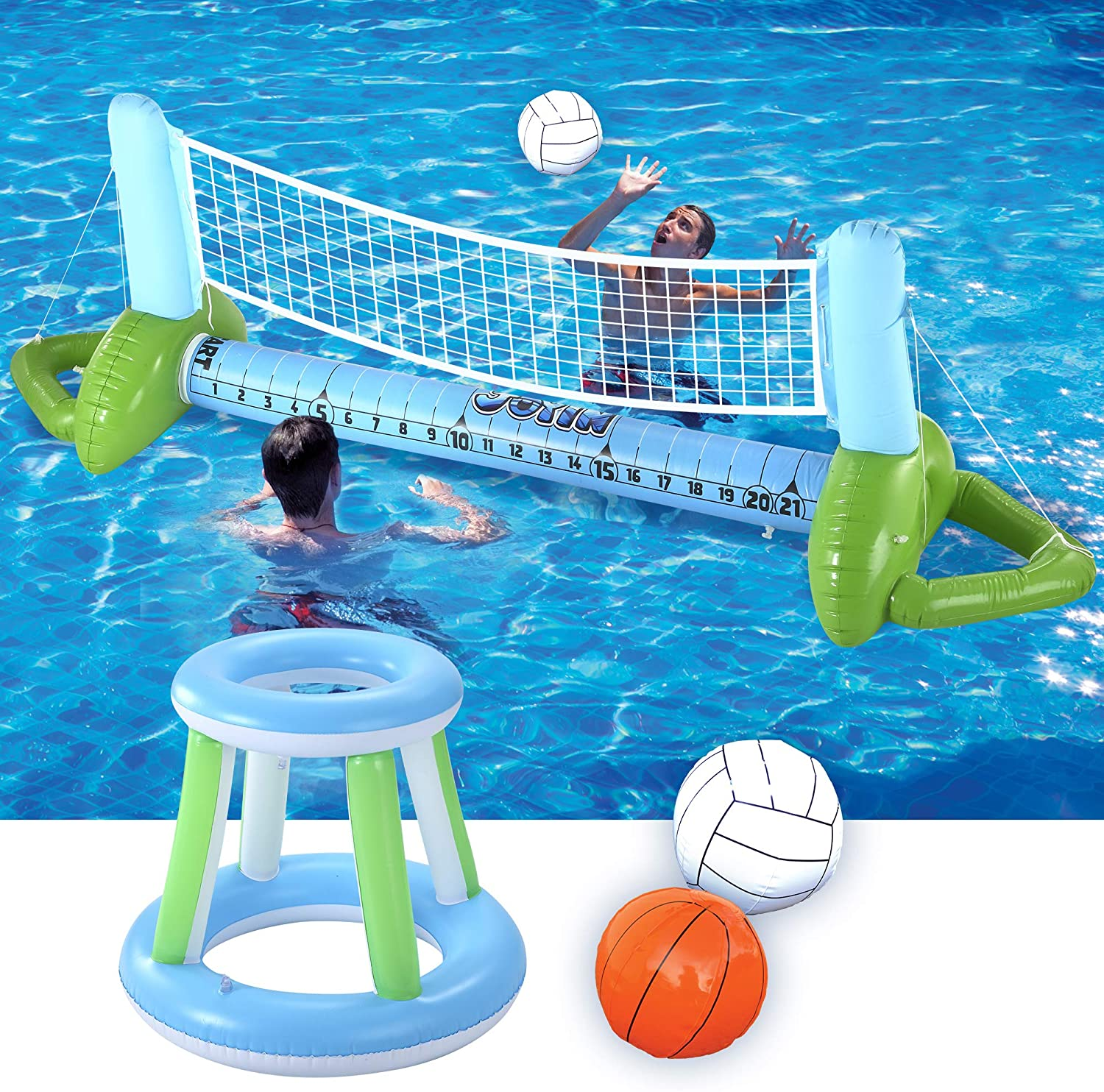 JOYIN Inflatable Volleyball Net & Basketball Hoops Pool Float Set Swimming Game Toy, Floating Summer Floaties, Volleyball Court Pool Party Lounge Raft, Inflatable Party Fun Games