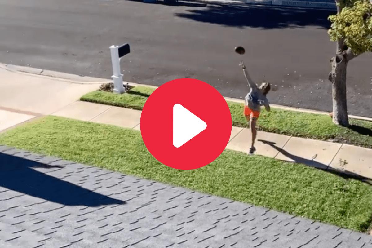 Girl Throws Football Over House & Into Basketball Pool Goal
