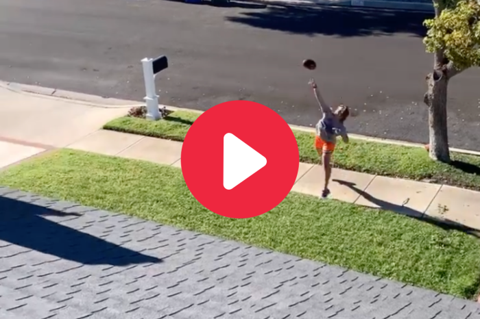 Girl Throws Football Over House & Into Basketball Pool Goal