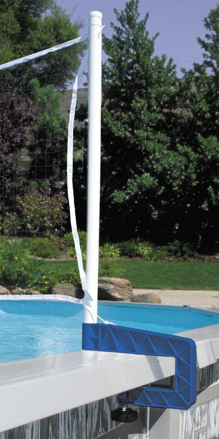 Poolmaster 72786 Above-Ground Mounted Poolside Volleyball / Badminton Game with Bracket Mounts,White/White,16W ft. x 2.5H in.