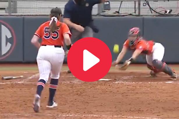 Auburn Catcher's Diving Bunt Catch Showed Her Cat-Like Reflexes