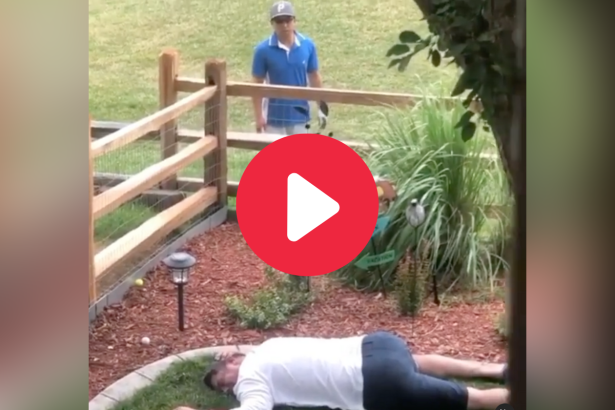 "Dad Pranks Golfer By ""Playing Dead"" in His Back Yard"