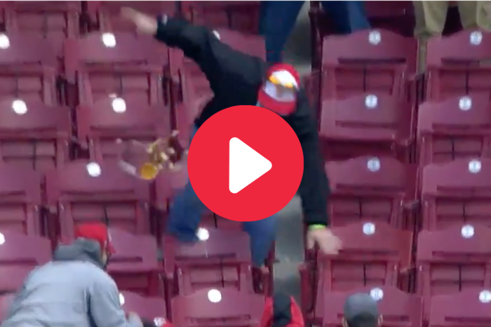 Dad Hilariously Faceplants Going for Ball at Reds Game