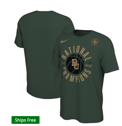 Baylor Bears Nike 2021 NCAA Men's Basketball National Champions Celebration Circle T-Shirt - Green
