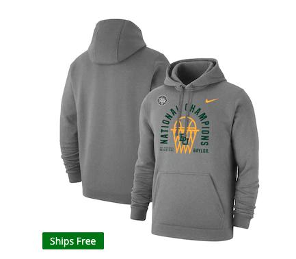 Baylor Bears Nike 2021 NCAA Men's Basketball National Champions Arc Club Fleece Pullover Hoodie - Heathered Gray