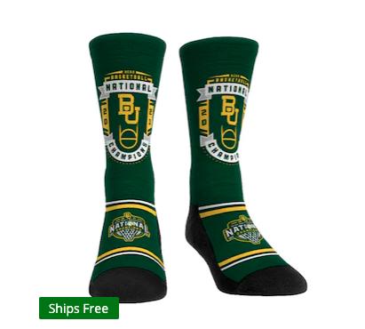 Baylor Bears Rock Em Socks 2021 NCAA Men's Basketball National Champions Badge Crew Socks