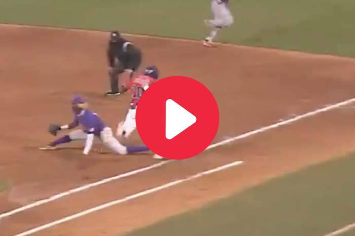 "Tre' Morgan's ""Spider-Man Stretch"" Showed LSU Infielder's Incredible Flexibility"