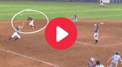 "Softball Shortstop's ""Diving Ricochet"" Double Play Showed Incredible Awareness"