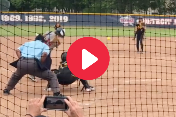 Softball Pitcher Takes Line Drive Off Face Mask Like a Champ