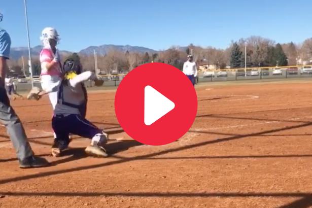 Softball Catcher Drills Batter on Stolen Base Throw