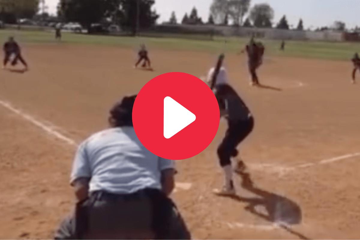 Softball Player's No-Look Bunt Baffles Fielders